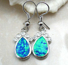 Silver Plated Blue Opal earrings tear drop small rhinestone dangle wire hook