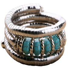 Fashion Tibet Turquoise Beads Inlay Bracelet Silver Plated Adjustable Bangle