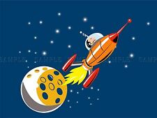 PAINTING ILLUSTRATION CARTOON SPACESHIP MOON STARS SPACE POSTER PRINT BMP10506