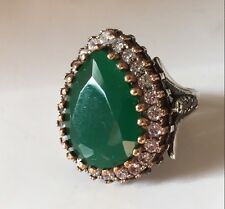 Hurrem Sultan Turkish 925 Sterling Silver Green Emerald Jade Rings Size  7.5