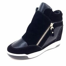 LADIES WOMEN'S SUEDE LEATHER STYLE BLACK HIDDEN WEDGE HEEL TRAINERS BOOTS SIZE 6