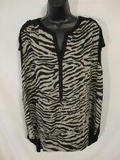 Daisy Fuentes Rayon Casual Mult Plus 1X Slveless Animal Print Blouse SR$52 NEW