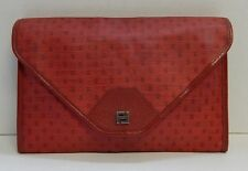Fendi Vintage Red Logo Coated Canvas Leather Clutch Bag Italy