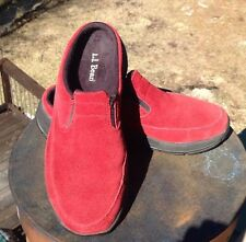 L.L. Bean Womens Loafers Slip-ons Red Suede Sport Clog Flats Size 6.5