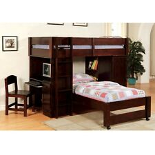 Harford Youth Kid All-in-One Twin Loft Bunk Bed Workstation Solid Wood Espresso