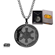 AUTHENTIC Star Wars Galactic Empire Symbol Pendant Necklace Gun Metal