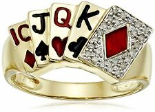Men's 10 karat Yellow Gold Poker Ring, with 24 genuine diamonds, Size 10