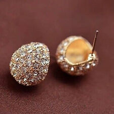Fashion Crystal Rhinestone Ball Ear Stud Earring Wedding Jewelry Gold Silver