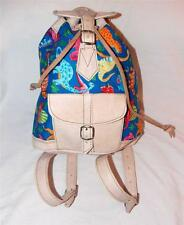 HAND MADE FAIR TRADE BOHO LEATHER & COTTON BACKPACK/ RUCKSACK FROM MOROCCO
