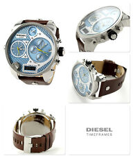 Diesel Men's Mr Daddy Oversized Steel Multifunction Brown Leather Watch DZ7322