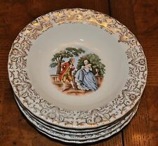 Vintage Courting Couple Design on Dishes with 22kt Gold Trim - Berry Bowls