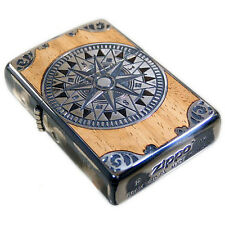 Zippo Lighter Antique Compass Wood Inley Both Sides Etching Antique Silver New