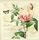 "4x Single Lunch Party Paper Napkins for Decoupage Craft Vintage ""Rose Botanical"""