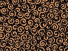 Quilting Treasures Metals 23538 JC Black/Copper Curly Cue Cotton Fab