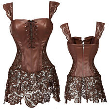 Women's Steampunk Corset Dress Waist Training Cincher Bustier Top & Skirt US #2