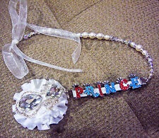 White Swarovski Crystal Pearl Baby Pacifier Holder Pin Acc Bling Personalised