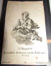 Santino incisione Santa Monica S. Monica  incisione dell' 700