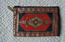 Free Shipping! Kilim Patterned Zippered Coin Purse Bag Oriental Moroccan Tribal