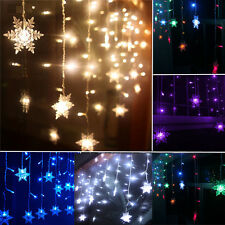 96LED Icicle Hanging Snowing Curtain Light Outdoor Fairy Xmas Wedding Party Lamp