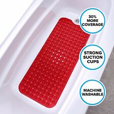 "Red 16""W x 39"" Extra Long Vinyl Bath Mat with Suction Cups by SlipX Solutions"