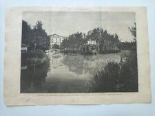 1885 Xilografía: Alhama de Aragon Zaragoza Las Termas de Matheau Vista del Lago