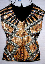BEBE BLACK SILVER BRONZE TROPICAL SEQUIN STUDDED TOP SHIRT NEW XSMALL XS