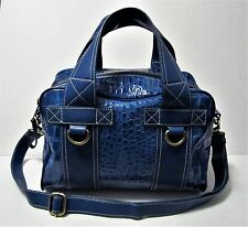CYNTHIA ROWLEY Genuine Blue Croc Patent Leather Satchel Shoulder Bag Purse EUC
