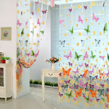 Room Divider Pelmets Butterfly Print Sheer Curtain Panel Window Balcony Tulle