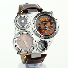 Men Military 2 Dials Multi Timezone Sports Leather Analog Wrist Watch OL02 Brown