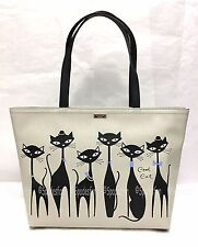 Kate Spade PXRU7048 Jazz Things Up Cool CAT FRANCIS Tote Bag Black Multi NWT