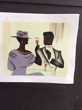 8 x 10 canvas painting Art Deco African Art COUPLE