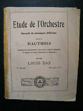 Partition Etude orchestre passages difficiles Hautbois Louis Bas Music Sheet
