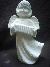 """E227-Ceramic Bisque 7.5"""" Angel w/Flower Robe- Accordian - Ready to Paint"""