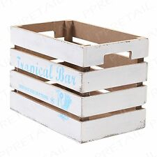 Decorative White Rustic Drinks Vintage Storage Box WOODEN CRATE Kitchen Fruit