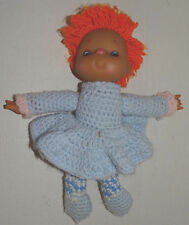 "Crochet Doll with AA African American head Orange Hair 12"" blue dress"