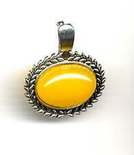 *MOTHERS DAY* GENUINE YELLOW JADE ENHANCER for Pearl Necklace *Antique Silver
