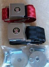 BUICK PAIR of SEAT BELTS (Red OR Black) BUICK CREST EMBLEM+ HARDWARE 1940 - 1957