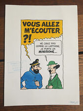 "[TINTIN] STUDIOS. Grand dessin original en couleurs signé ""Mini 03""."