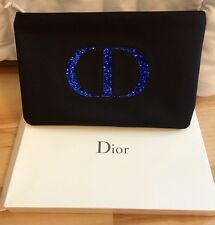 Christian Dior Royal Blue Glitter Logo Trousse Makeup Pouch Bag New in Box!