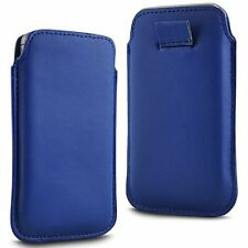 For BLU Studio C Super Camera - Blue PU Leather Pull Tab Case Cover Pouch