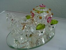 """CRYSTAL WORLD """"FANTASY COACH"""" WITH 2 HORSE'S, PINK, GREEN CRYSTAL  NEW IN BOX"""