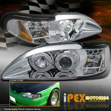 NEW For 1994-1998 Ford Mustang GT V6 Cobra Halo Projector LED Chrome Headlights