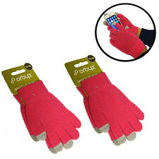 2 Pair Unisex Smart Touch Screen Magic Winter Gloves iPad iPhone Android Pink