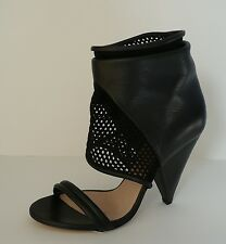 IRO black LEATHER fabric mesh ANKLE BOOT open toe sandal 39 shoes heels