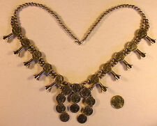 Navajo Squash Blossom Necklace Sterling OLD MERCURY DIMES COINS 138 grams #SW552