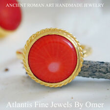 RED CORAL RING 925K STERLING SILVER 24K GOLD PLATED HANDMADE DESIGN BY OMER