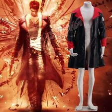 Cafiona New Hot Devil May Cry Dante Cosplay Costume Long Coat Leather Any Size