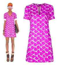VIBRANT BALENCIAGA SHORT DRESS MARBLE PRINT FUCHSIA SILK TUNISIAN COLLAR FR40