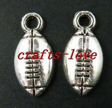 100pcs Tibet Silver Football Pendants Charms 15.5x7x3mm 14124-1