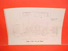 1969 DODGE A100 A108 1/2 TON VAN PANEL PICKUP WAGON FRAME DIMENSION CHART